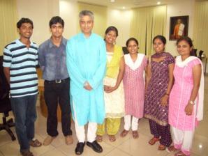 Another photograph with Rajdeep - from left Anzil, Harsha, Seema, Janice, Wilma, Kritika
