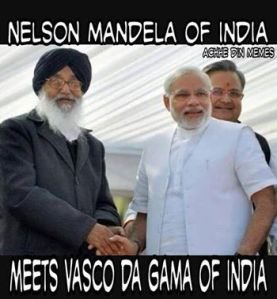 If Punjab Chief Minister is Nelson Mandela of India, the cartoon said, Narendra Modi is the the Vasco da Gama of India! That says it all!